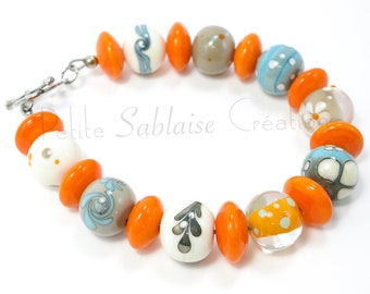 Orange Handcrafted Glass Pearl Bracelet - Ivories in Murano Glass and Aged Solid Silver, made by an Artisan Verrier