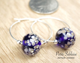 Purple Amethyst earpieces made of Murano Glass and Solid Silver, made by an Artisan Verrier