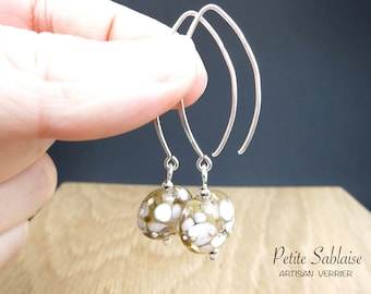 Golden Champagne earrings in Murano glass and solid silver, made by an Artisan Verrier