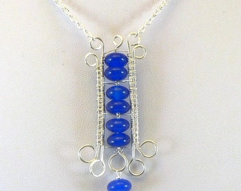 Collier Simplyblue - perles en bleu saphir et wire wrapping