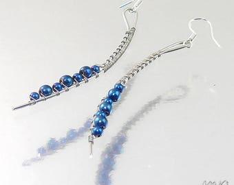 Boucles d'oreille Quiry - hématites bleues