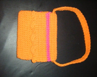 Hand Made Crocheted Bright Orange Kids Purse