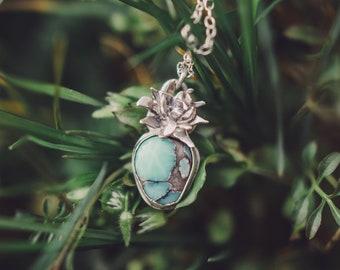 Desert Bloom Variscite Necklace - Sterling Silver
