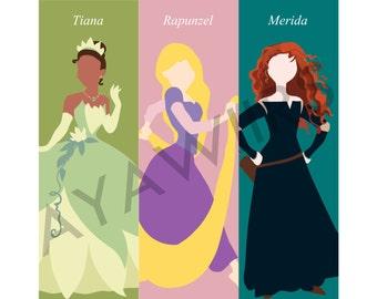 """Digital Download, Printable Bookmarks """"Disney Princess"""""""