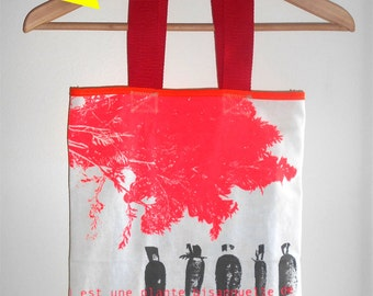 Printed Tote Bag Bag bubble coral, white and grey yellow.