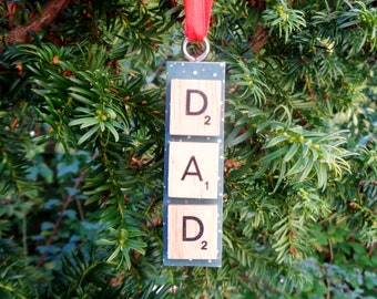 Dad hanging tiles decoration, Father's Day present, Gift from children, Car mirror charm, Christmas tree decoration