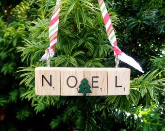 NOEL tree decoration, Christmas hanging ornament, Festive tree hanger,  Bottle tag