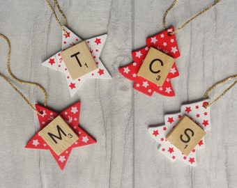 Custom Scandi initial ornament, Personalised Christmas decoration, Scandinavian style star and tree bauble