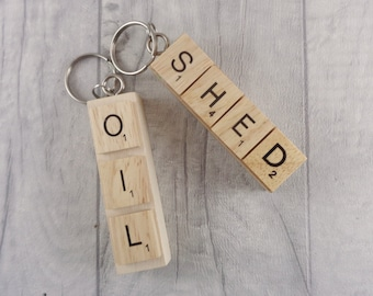 OIL SHED wooden keyrings, Upcycled chunky keychain, Garage keys, Oil tank key, Shed key fob