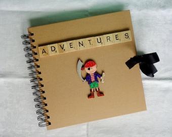 Pirate Adventure album, Travel Mementos book, Birthday Gift idea, Summer Fun photo album, Back to School present, Rustic keepsake scrapbook,