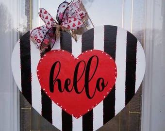 Valentine Heart Valentine Door Hanger Door Hangers Heart Door Hanger Wood Door Hangers Valentines Day Painted Door Hangers