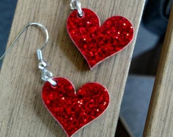 """Heart earrings .75"""" / Heart / Valentine's earrings / Earrings / Teen earrings"""