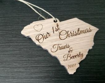 1st Christmas Ornament / 1st Christmas / Couples Ornament / State Ornaments / SC Christmas Ornament / Minnesota Ornament / South Carolina