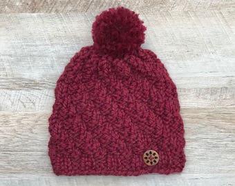 Women's Burgundy Knit Pompom Hat | Textured Winter Wool-blend Beanie