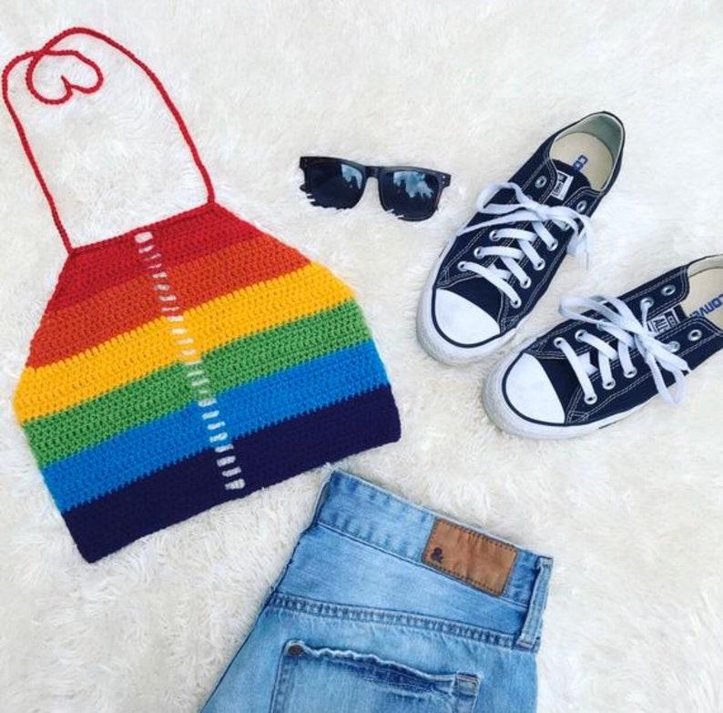 CROCHET PATTERN // Rainbow Stripe Halter Top  Crochet Halter image 3