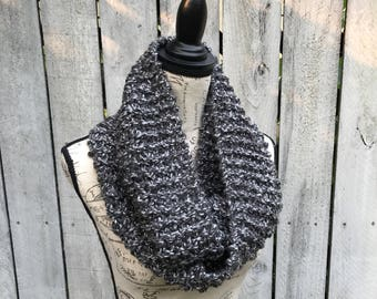 Marbled Gray Knit Infinity Scarf