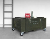 Industrial Coffee Table Green Military Vintage Chest Storage Trunk