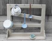 Vintage Kitchen Utensils Stand Wall Rack Antique French Pine