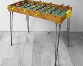 Vintage Table Football Game Atomic 1960s Retro Red Yellow Display