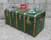 Large Vintage Trunk Green Coffee Table Box Industrial Storage Chest