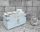 Industrial 1940s Trunk Coffee Table Box Navy Anchor SeaSide Window Display