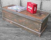 Rustic Pine Industrial Tools Wooden Chest Box 1940s Storage Coffee Table