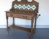 Pine Victorian Tiled Washstand Hall Table Sideboard