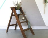Rustic Step Ladder Pine Storage Library Books Bathroom Towels Plant Stand