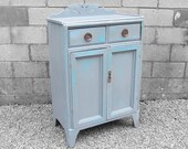 Large Pine Antique Victorian Painted Cupboard Grey Blue Atomic Farmhouse