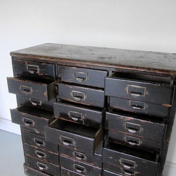 1940s Antique Ebonised Pine Storage 24 Drawers Bank Chest Vintage Patina