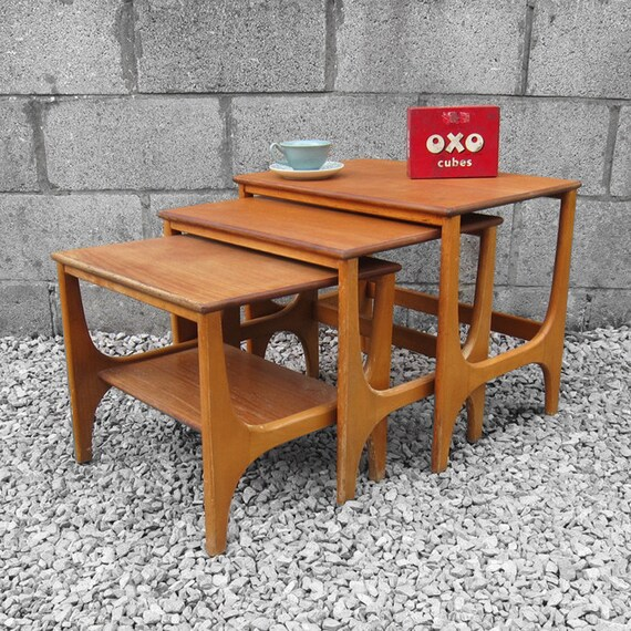 Vintage Mid Century Tables Trio Nest Occasional Coffee Side Table