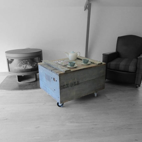 Military Coffee Table Trunk 1950s Chest Castors