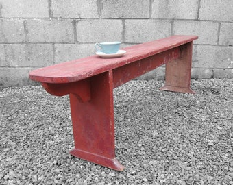 Rustic Primitive Seat Old Bench Painted Red