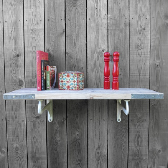 Pine Scaffold Board Shelf - Vintage 1920s Enamel Sink Brackets