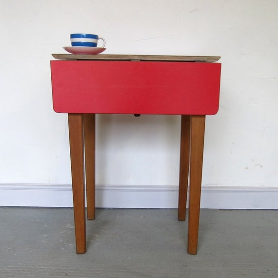 Red Formica Extending Kitchen Dining Table Mid Century Kitsch 1960s Retro