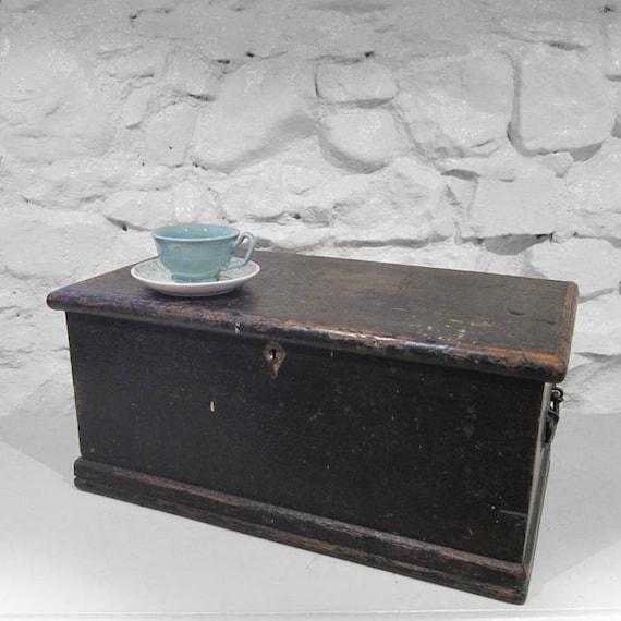 Tools Box Chest Rustic Pine Trunk Industrial Black 1940s Old Storage Black Box Wood