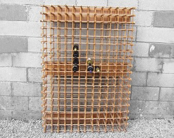 Large Wooden Wine Bottle Rack Kitchen Storage Mid Century SALE