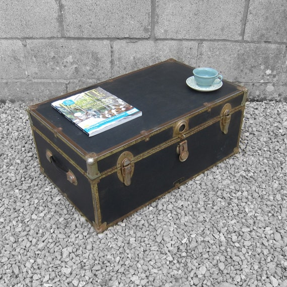 Black Trunk Chest Box Coffee Table Storage MossMan