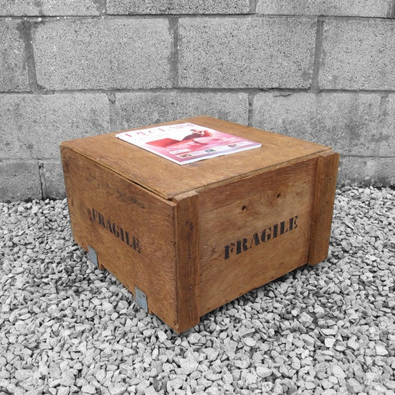 Fragile Crate Box Coffee Table Magazine Storage