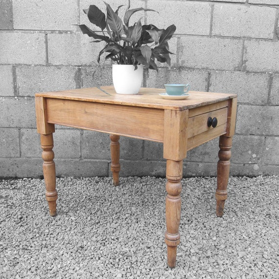 Rustic Pine Farmhouse Table Small Victorian Kitchen Dining