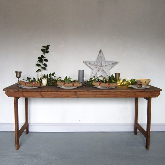 Vintage Folding Trestle Table Rustic Pine Kitchen Dining Garden Event Wedding Function 1940s 6ft