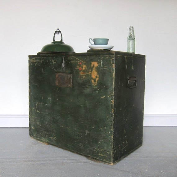 Industrial Military Trunk Chest Vintage Green Storage Box
