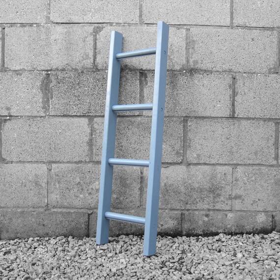 Rustic Painted Grey Ladder Vintage Towel Rail Blanket Wall Rack