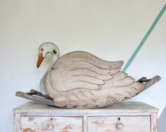 Wooden Rustic Carved Antique Rocking Swan Childrens Toy