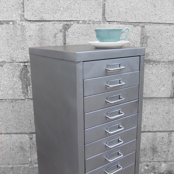 Industrial Steel 1950s Mid Century Polished 15 Drawer Filing Cabinet made by STOR - Great Office Storage