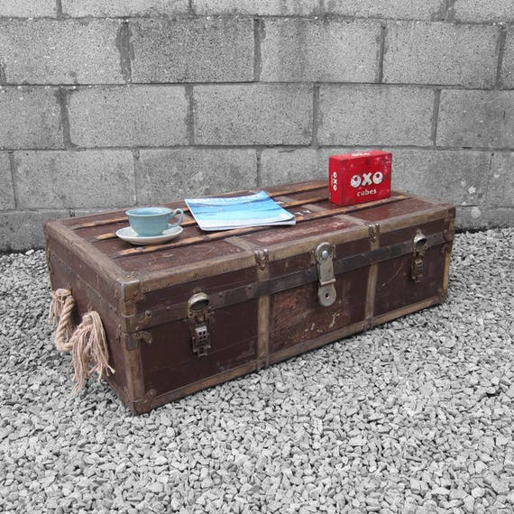 Vintage Travel Trunk Chest 1940s Coffee Table Macmillan