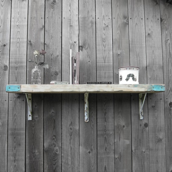 Up-cycled Scaffold Boards; lovely shelf - Great Bookshelf Bathroom Kitchen - Cast Iron Original 1920s Brackets