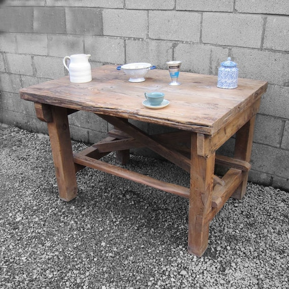 Vintage Kitchen Island Rustic Pine Work Bench 1940s Display Table Dining