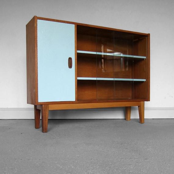Mid Century Blue Book Shelf Glazed Storage Sideboard 1970s Retro