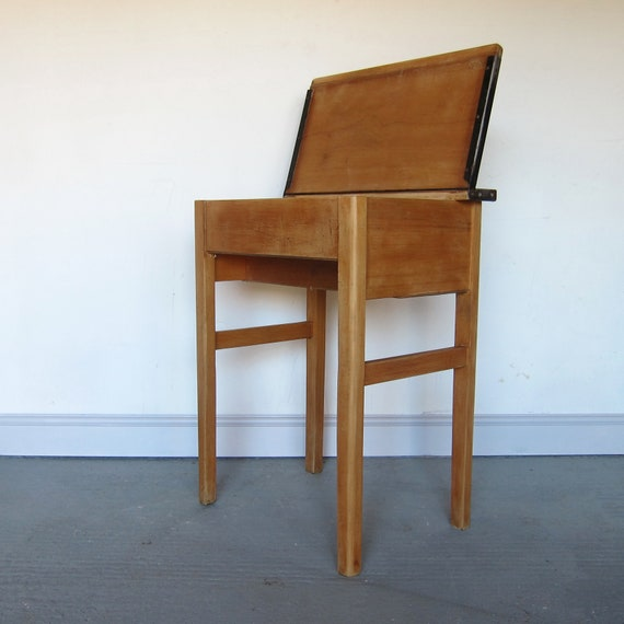 Vintage Single School Desk Adult Table Laptop Home Office Storage